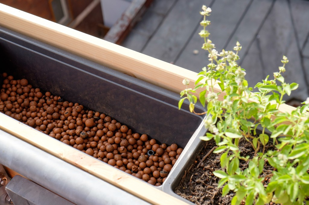 Die Grundlage zum Bepflanzen. Zwischen den Tonkugeln ist aufgebohrte Überlauföffnung sichtbar.